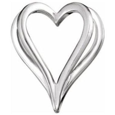 14K White Shadow Heart Slide Pendant