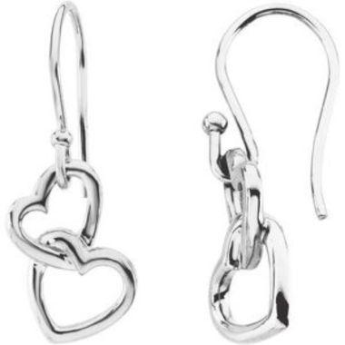 14K White 16.5x9.5 mm Interlocking Heart Earrings