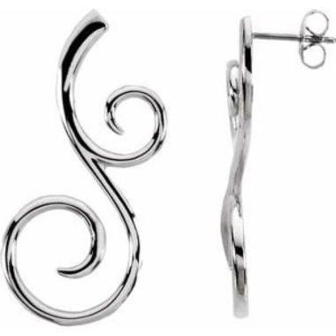 Sterling Silver & 14K White 38x17 mm Scroll Pattern Earrings