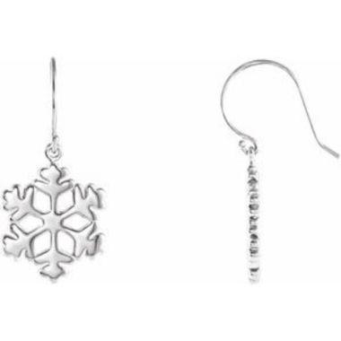 Sterling Silver 19.75x15 mm Petite Snowflake Earrings