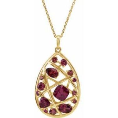 """14K Yellow Rhodolite Garnet Nest Design 18"""" Necklace"""