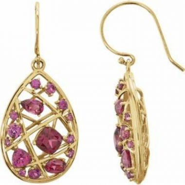 14K Yellow Rhodolite Garnet Nest Design Earrings