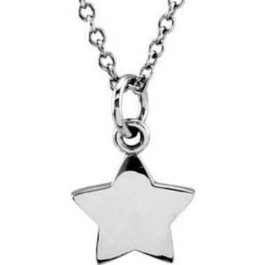 "Sterling Silver Tiny Posh Star 16-18"" Necklace"