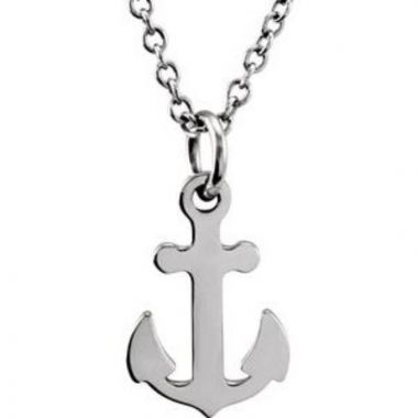 """Sterling Silver Tiny Posh Petite Anchor 16-18"""" Necklace"""