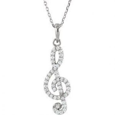 "14K White 1/4CTW Diamond Petite Treble Clef 16"" Necklace"