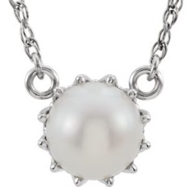 """14K White Freshwater Cultured Pearl 18"""" Necklace"""