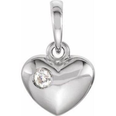 Sterling Silver .03 CT Diamond 13.55x8.35 mm Heart Pendant