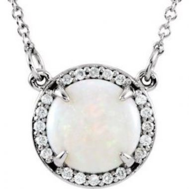 "14K White Opal & .05 CTW Diamond 16"" Necklace"