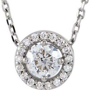 "14K White 1/5 CTW Diamond Halo-Style 16"" Necklace"