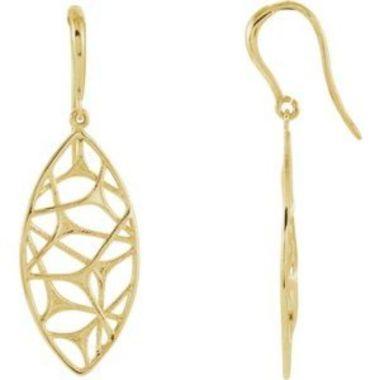 14K Yellow Web Design Dangle Earrings
