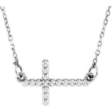 "14K White 12.05x19.5 mm Sideways Beaded Cross 16.5"" Necklace"