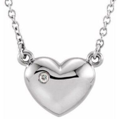 "14K White .01 CTW Diamond Heart 16.5"" Necklace"