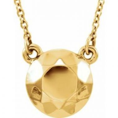 """14K Yellow Faceted Design Circle 16.5"""" Necklace"""