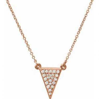 "14K Rose 1/5 CTW Diamond Triangle 16.5"" Necklace"