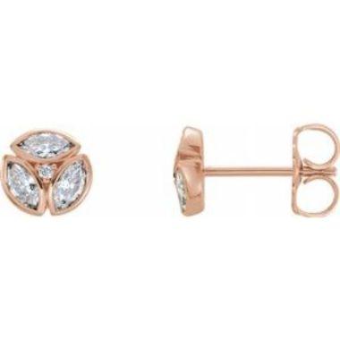 14K Rose 1/2 CTW Diamond Earrings