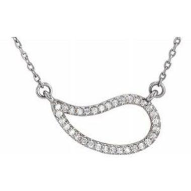 "14K White 1/6 CTW Diamond Paisley 18"" Necklace"