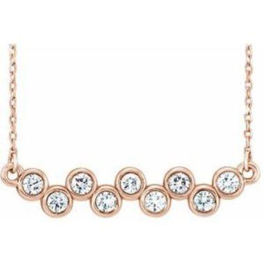 "14K Rose 1/2 CTW Diamond Bezel-Set Bar 16-18"" Necklace"