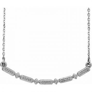 """Sterling Silver Beaded Bar 16-18"""" Necklace"""