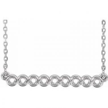 """Sterling Silver Circle Bar 16""""-18"""" Necklace"""