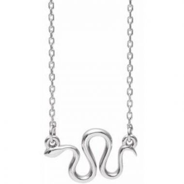 "Sterling Silver Snake 16-18"" Necklace"