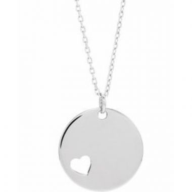 """Sterling Silver Pierced Heart Disc 16-18"""" Necklace"""