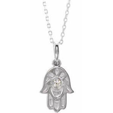 "Sterling Silver .03 CTW Diamond Hamsa 16-18"" Necklace"