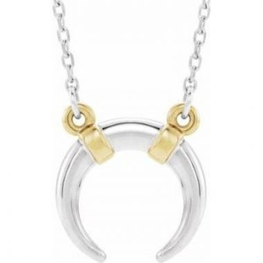 """14K White/Yellow Crescent 18"""" Necklace"""