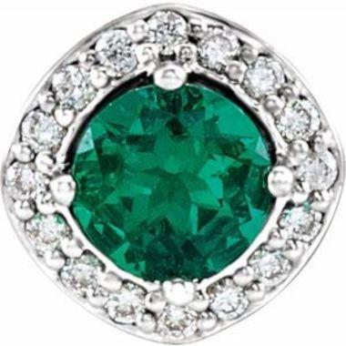 14K White Chatham Created Emerald & .08 CTW Diamond Pendant