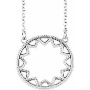 """Sterling Silver Milgrain Sun 16-18""""  Necklace"""