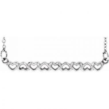 """Sterling Silver Heart Bar 16-18"""" Necklace"""