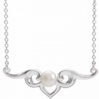 """Sterling Silver Freshwater Cultured Pearl Bar 18"""" Necklace"""