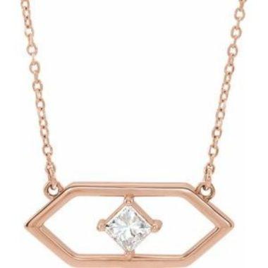 "14K Rose 1/4 CTW Diamond Geometric 18"" Necklace"