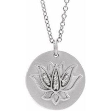 "Sterling Silver .025 CTW Diamond Lotus 16-18"" Necklace"
