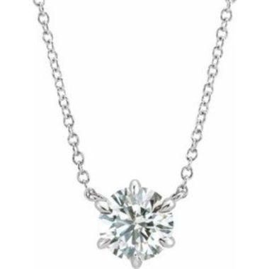 "14K White 7/8 CT Diamond Solitaire 18"" Necklace"
