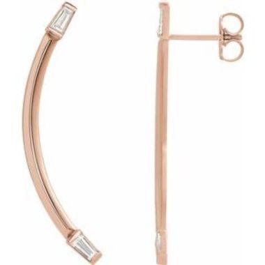 14K Rose 1/4 CTW Diamond Curved Bar Earrings