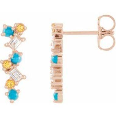 14K Rose Turquoise, Honey Topaz & 1/10 CTW Diamond Scattered Bar Earrings