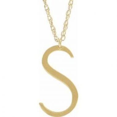 """14K Yellow Block Initial S 16-18"""" Necklace with Brush Finish"""
