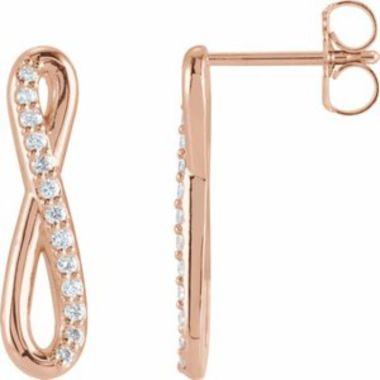 14K Rose 1/8 CTW Diamond Infinity-Inspired Earrings