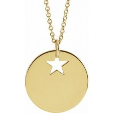"""14K Yellow Pierced Star 15 mm Disc 16-18"""" Necklace"""