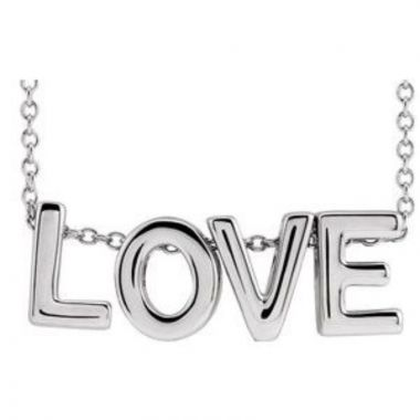 """Sterling Silver Love 16-18"""" Necklace"""