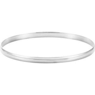 """14K White 4 mm Half Round Bangle 7 1/2"""" Bracelet"""