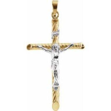 14K Yellow & White 33x21 mm Hollow Crucifix Pendant