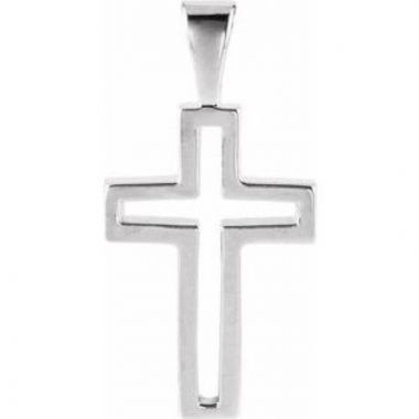 Sterling Silver 13.5x9.5 mm Cross Pendant