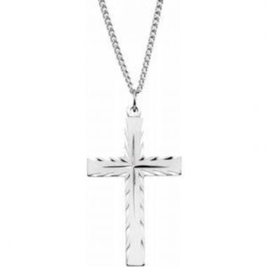 """Sterling Silver Cross 24"""" Necklace"""