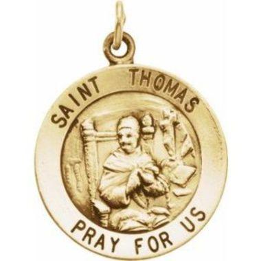 14K Yellow 18 mm Round St. Thomas Medal