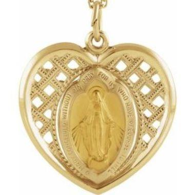 14K Yellow 20x20 mm Heart Miraculous Medal