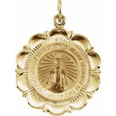 14K Yellow 22 mm Miraculous Medal