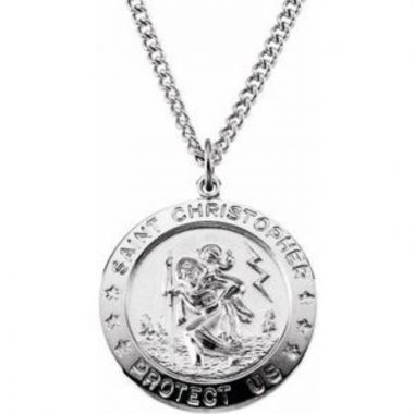 "Sterling Silver 25 mm St. Christopher Medal 24"" Necklace"