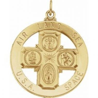 14K Yellow 33 mm St. Christopher Four-Way Medal