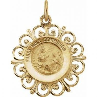 14K Yellow 20x18.5 mm First Holy Communion Medal